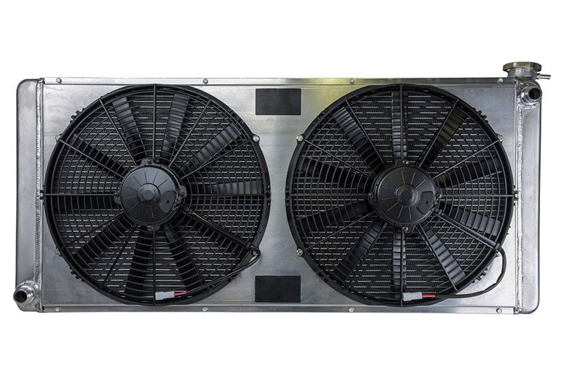 Griffin Race Radiator 38 x 17 x 3 w/ (2) 16 Spal Fans and Full Shroud w/  -16 Bungs