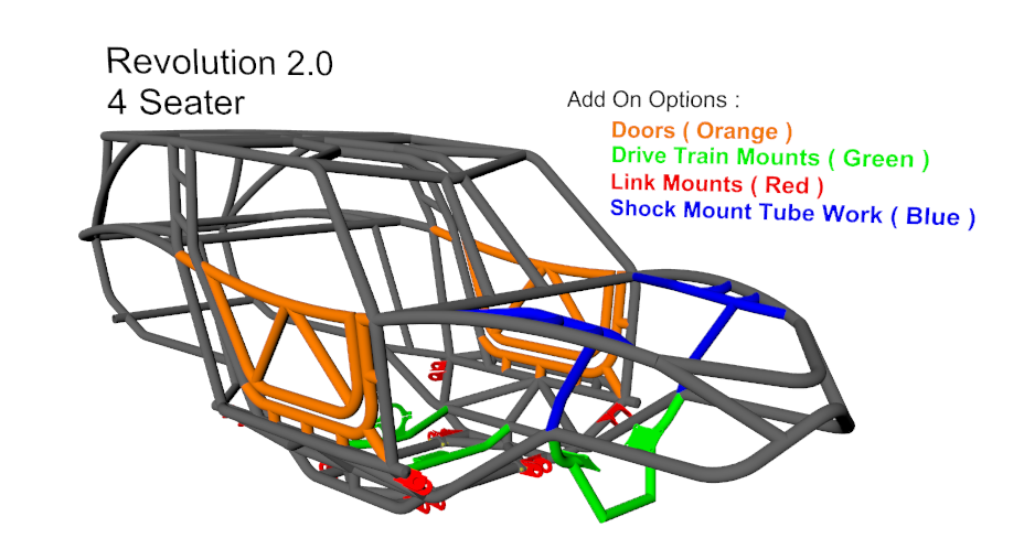 Revolution 2.0 Rock Crawler 4 Seat Chassis Tubing Size 4
